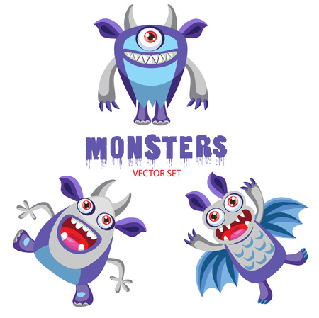 pranks: Vector Set Cute Halloween Monsters With Toothy Smiles. Funny Colorful Monsters For Kids. Halloween Costume Ideas. Halloween Pranks. Illustration