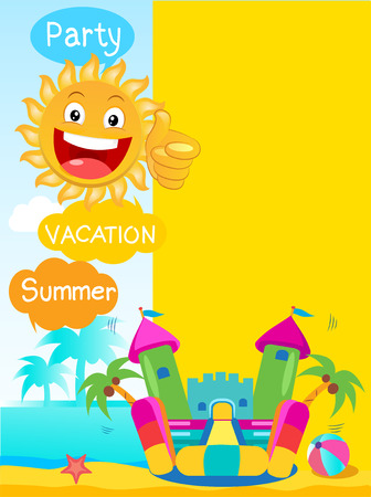 Bouncy Castle And Happy Sun. Summer Rest Vector Concept Banner. Summer tropics background. Summertime Template With Space For Text.