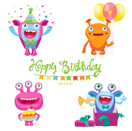 Set Of Cute Monsters For Birthday Card Design Vector Illustration. Cartoon Colorful Kids Toy Cute Monster. Monsters Inside Me. Aliens Birthday Parties. Space Aliens Card.