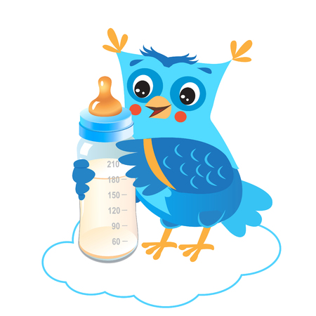 owlet: Cute Owlet With Milk Bottle. Welcome Baby Boy. Vector Illustration. Cute Owl Drawings. Cute Owlet Owl Sticker. Cute Owl Picture. Cute Owl Picture For Kids. Owl Mask. Owl As Toy. Cute Owl Pet. Illustration