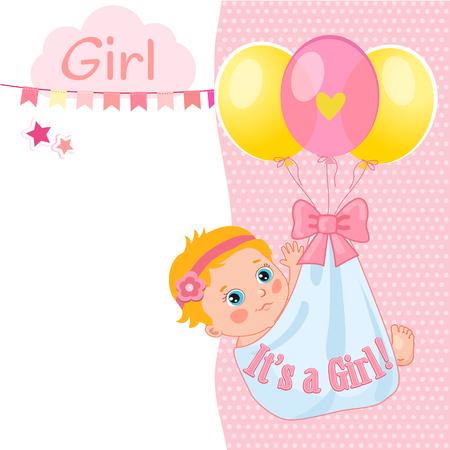 """Tarjeta de ducha de la niña Ilustración del vector. Invitación de la ducha de bebé """"es una muchacha"""". Los niños de la invitación diseño de tarjetas. Ideas Tarjeta ducha de la niña. Plantilla de la tarjeta."""