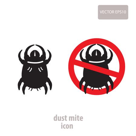 Icono de polvo de ácaros. Vector ilustración de una muestra de prohibición para los ácaros del polvo doméstico. Señal de prohibición de insectos. Los ácaros del polvo de la foto. Las mordeduras de polvo de ácaros. Foto de archivo - 65359488