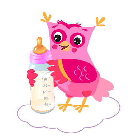 owlet: Cute Owlet With Milk Bottle. Welcome Baby Girl. Vector Illustration. Cute Owl Drawings. Cute Owlet Owl Sticker. Cute Owl Picture. Cute Owl Picture For Kids. Owl Mask. Owl As Toy. Cute Owl Pet.