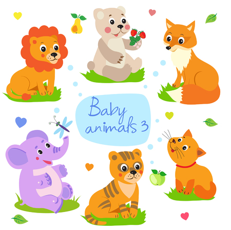 compilation: Baby Animals: Lion, Bear, Fox, Elephant, Tiger, Cat. Set Character Vector Illustration. Baby Animals Cute. Baby Animals Playing. Baby Animals For Kids. Baby Animals Compilation. Cutest Baby Animals.