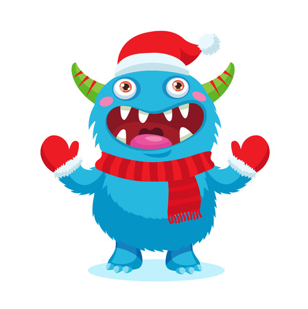 alien face: Cute Christmas Monster Vector. Holiday Cartoon Mascot. Isolated On White Background. Merry Christmas, Happy New Year Congratulation Decoration Design Element. Good For Xmas Card, Banner.