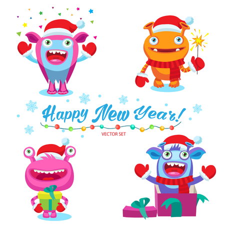 Funny Christmas Monsters Set. Cute Christmas Theme For Card Design Vector Illustration. Colorful Cartoon New Year Monsters Characters. Illustration