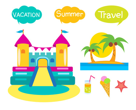 brincolin: Bouncy Castle Set. Cartoon Illustrations On A White Background. Bouncy Castle Rental. Bouncy Castle For Sale. Bouncy Castle Commercial. Bouncy Castle For Kids. Castle Fun. Vacation And Tourism Icons.