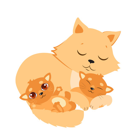 Sleeping Cat And Kitten. Sweet Kitty Cartoon Vector Card. Good Night Vector Illustration. Sleeping Cats Dreaming. Illustration