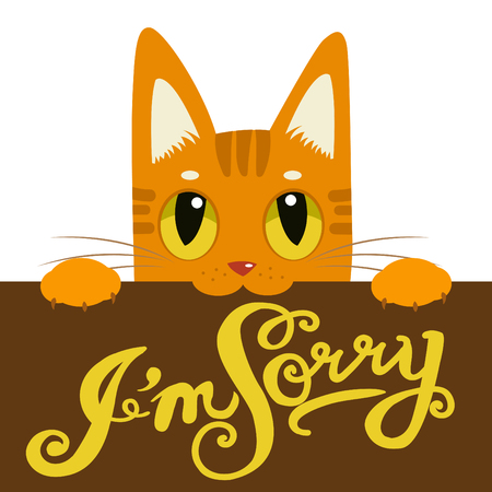 Cute Cat Holding A Message Board Im Sorry. Hand Drawn Text Im Sorry. Cartoon Cat And Message Board. Vector Isolated Typography Design Element For Greeting Cards, Posters And Print Invitations. Illustration