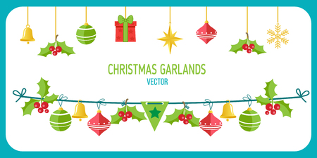 Christmas Garland Vector. Winter Holidays Vector Clip Art On White Background. New Year Garland Decorations. Snowflakes, Gifts, Christmas balls vector.