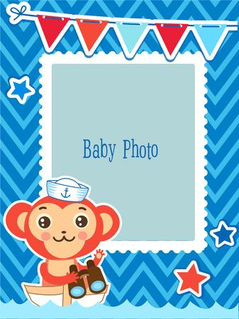 Cute Kids Vector Photo Frame. Cartoon Monkey Vector Illustration. Decorative Cartoon Template For Baby Family Or Memories. Marine Theme Photo Frame. Illustration