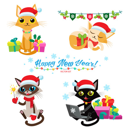 set of christmas cats vector cartoon cats with holiday gifts design for new year