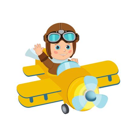 Cute Boy Pilot Flies On A Airplane Cartoon Vector. Retro Boy Pilot Isolated In White Background. Boy Pilot Costume. Baby Boy Pilot Hat. Ilustração