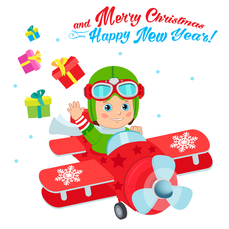Christmas Santa Helper Boy Cartoon Character. Cute Boy Pilot Flies On A Airplane And Deliver Christmas Gifts. Design For New Year Holiday Theme. Boy Pilot Costume. Baby Boy Pilot Hat. Illustration