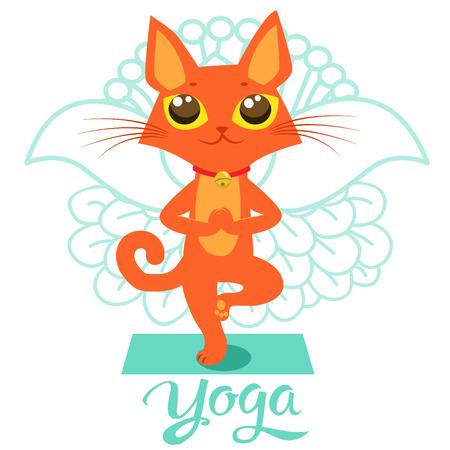 Cartoon Funny Cat Icons Doing Yoga Position.