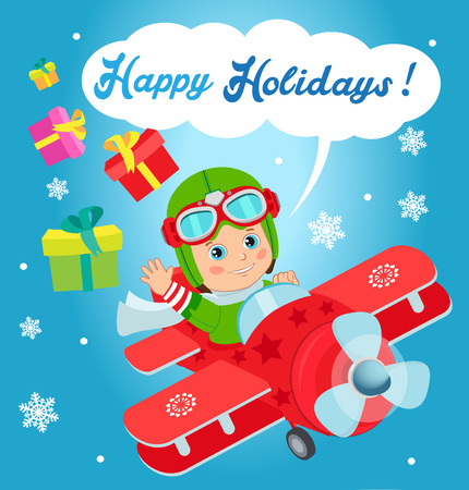 santa helper: Christmas Santa Helper Boy. Cute Boy Pilot Flies On A Airplane And Deliver Christmas Gifts. Card For New Year And Happy Holiday Theme.
