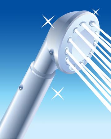 jet stream: Primer del agua que sale de la cabeza de ducha, ilustración vectorial. Ducha adaptador de la cabeza. La cabeza de ducha de limpieza. De mano de la cabeza de ducha. Fuga ducha cabeza. Cabeza de ducha del LED. La pureza, la higiene, la frescura. Vectores