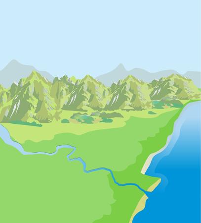 Mountains Landscape. Green Valley. Top View. Vector Background. Landscape Drawing. Landscape Pictures. Landscape Definition. Landscape Vector. Landscape Mountains. Sun Day. Landscape Ideas.