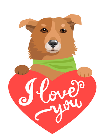 Lovely Dog With Heart And Text I Love You. Greeting Card With Cute Animals. Design Element Valentines Day. Love Concept Vector Image. My Feelings.