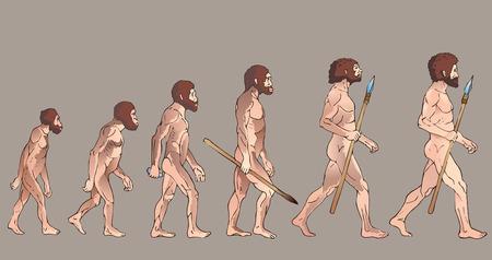 Human Evolution. Human Evolution Future. Historical Illustrations. Isolated Vector. Civilization, Era. Neanderthal Progress. Darwin And Evolution. Human Evolution Theories. Darwin Evolution Theory. Illustration