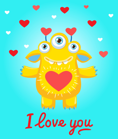 Confession Of Love. A Lovers Wish. Cartoon Sunny Yellow Monster In Love. Be Mine Only. Saint Valentines Vector Illustration Of Loving Monster And Heart.