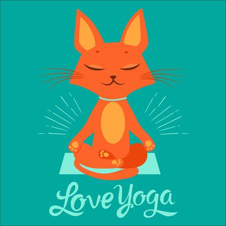 De yogapraktijk. Feel Like A Goddess. Cartoon grappige kat doet yoga positie. Cartoon meditatie Vector met tekst I Love Yoga. T-shirt printontwerp.