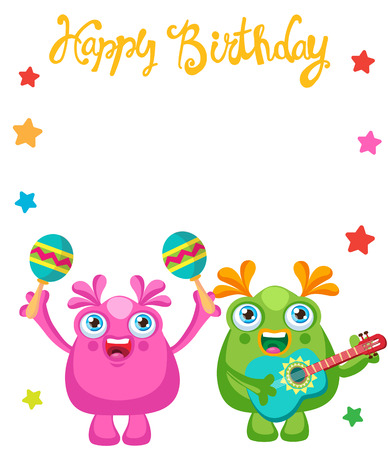 Holiday Everyday. Cute Little Monsters Invitation Cartoon Vector Collection. Beautiful Birthday Monsters Celebration Card With Space For Text. Lets Make a Holiday. Ilustração