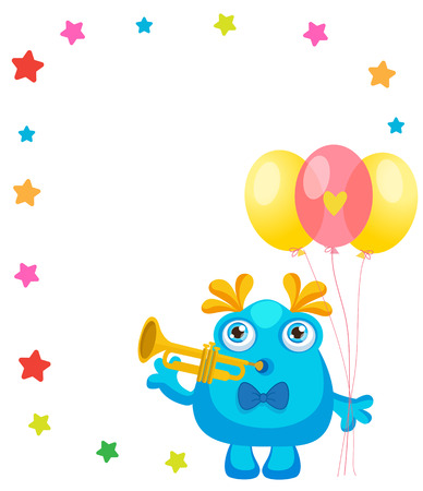 Holiday Everyday. Cute Little Monster Invitation Cartoon Vector Collection. Beautiful Birthday Monster Celebration Card With Space For Text. Lets Make a Holiday. Illustration
