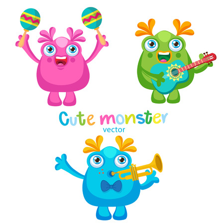 Holiday Everyday. Cute Monsters Music Players Vector Set. Luck Cartoon Mascot On A White Background. Monsters With Guitar, Trumpet, Maracas.