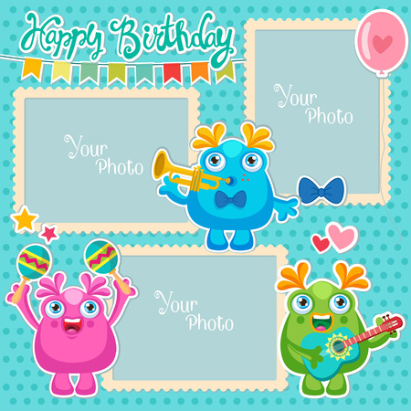 Birthday Vector Photo Frames With Cute Monsters. Decorative Template For Baby, Family Or Memories. Scrapbook Vector Illustration. Birthday Childrens Photo Framework.