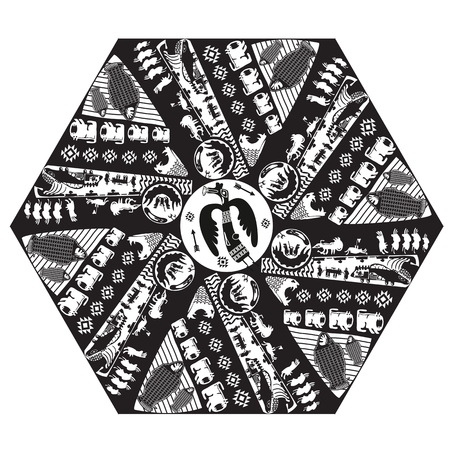 witchery: Boho Style Vector. Vector Ethnic Tribal Mandala With Mythical Animals. Black Mandala Geometric Round Ornament Ethnic Motif. Hand Drawn Decorative Vector Isolated Design Element. Illustration