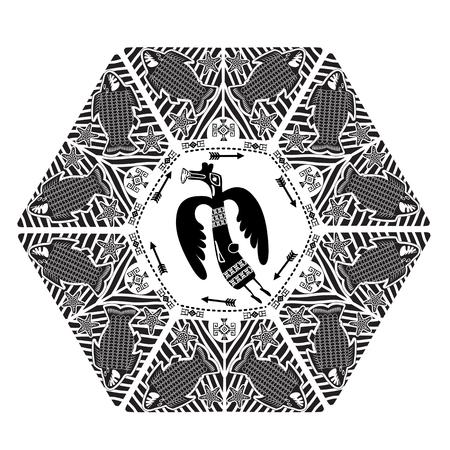 witchery: Wild Hunt. Boho Style Dark Color Vector. Vector Ethnic Tribal Mandala With Mythical Animals. Black Mandala Geometric Round Ornament Ethnic Motif. Hand Drawn Decorative Vector.