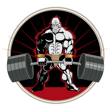 Gros pied. Bodybuilder. Bodybuilder Workout. Ape Weightlifter. Affiche Bodybuilder. Vêtements pour bodybuilder. Powerlifter. Vector Brutal Theme. Haltère.
