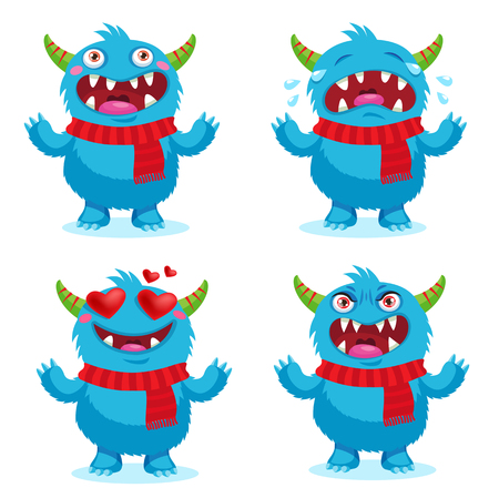 triggers: Cute Monsters Emotions, Happy, Angry, Crying And Love. Vector Set Solated On White Background. Cartoon Face Emotions Set. Greatest Emotional Triggers.