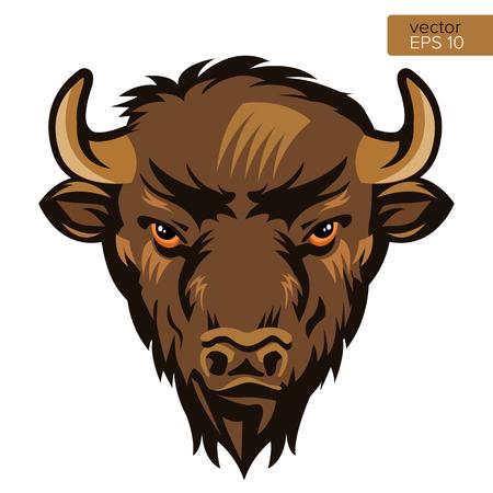 American Bison Bull Mascotte Head illustrazione vettoriale. Simbolo animale della testa di Buffalo isolato su sfondo bianco.
