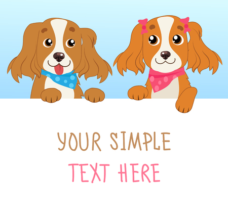 Shaggy Dogs. Cartoon Vector Illustration Of Funny Dogs With White Card Or Board Greeting Card.