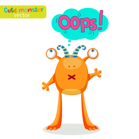Colorful Monster For Different Emotions. Funny Character With Speech Bubble Oops! Vector Illustration Vector Illustration On A White Background. Illustration