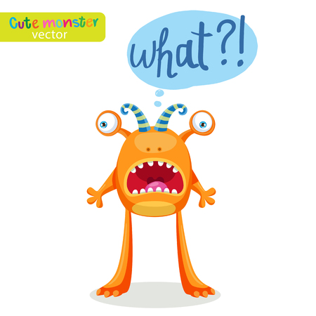Colorful Monster For Different Emotions. Funny Character With Speech Bubble What? Vector Illustration On A White Background.