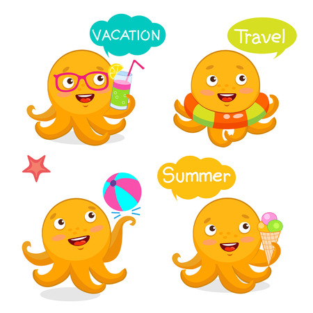 Set Vacation Icons And Balloons. Summer Travel Illustration Characters Mascot. Summer With Cute Octopus. Vector Tentacle. Funny Cartoon Octopus Character Design Set. Illustration