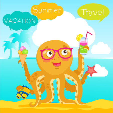 Hello Summer Cute Banner With Octopus. Vector Tentacle. Funny Cartoon Octopus Character Design. Summer Travel Illustration Mascot.