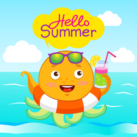 Hello Summer! Funny Vector Background With Octopus Slice In Glasses, Speech  Bubble And Hand