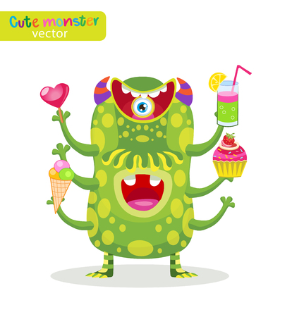 man eater: Sweet Toothpiece. Cute Food Monsters Vector Illustration. Funny Cartoon Character. Man Of Pleasure. Heavy Eater Vector Mascot. Illustration