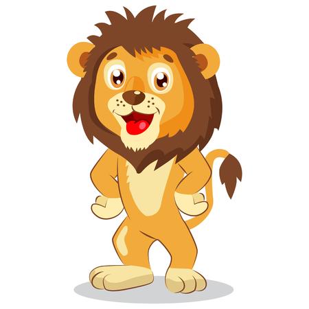 Léo heureux. Vecteur de dessin animé Lion. Caractère mignon. Illustration drôle d'enfants. Lion mascotte drôle. Animaux de la jungle mignon. Vecteurs