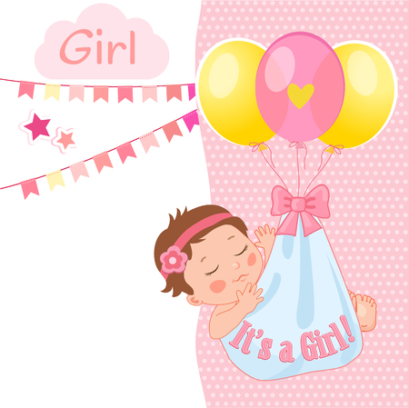 Baby Girl Shower Card Vector Illustration. Its A Girl. Kids Invitation Card Design With Little Sleep Baby Girl And Balloon. Illustration