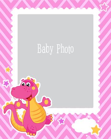 恐竜の子どもたちのフォト フレームのデザイン。赤ちゃんのベクトル図の装飾的なテンプレートです。誕生日の子供たち画像写真場所とフレームワ