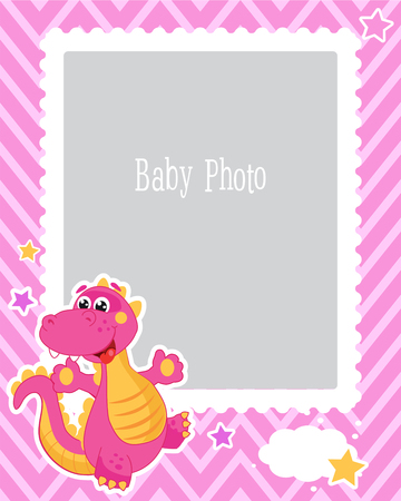 Photo Frame Design For Kids With Dinosaur. Decorative Template For Baby Vector Illustration. Birthday Children Photo Framework With Place For Photo. Sample For the Children. Illustration
