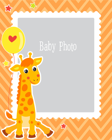 Photo Frame Design For Kid With Cute Giraffe. Decorative Template For Baby Vector Illustration. Birthday Children Photo Framework With Place For Photo.