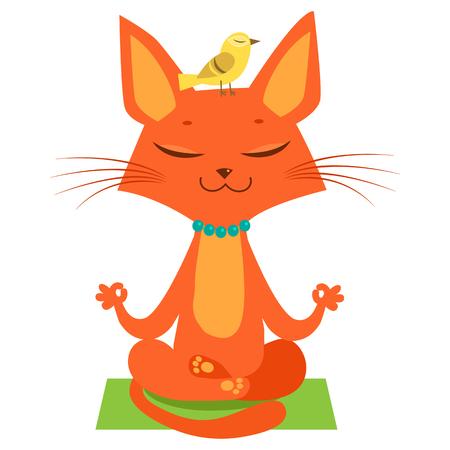 Meditating Yoga Cat Vector. Funny Cartoon Cat Practicing Yoga. Join In Yoga Session. Cute Cartoon Cat In Yoga Lotus Pose. Meditation Session Vector. Vectores