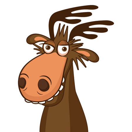 Moose Face Picture. Cartoon Smile Deer Vector. Image On White Background. Moose On The Loose.