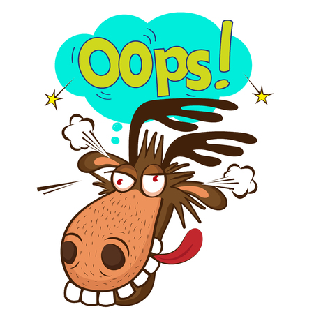 Moose Face Picture. Cartoon Smile Deer Vector. Image On White Background. Moose On The Loose. Oops Speech Bubble.